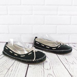 LL Bean Black Ballet Slipper Scuffs Size 8